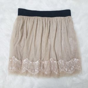 Forever 21 Lined Floral Lace Tulle Skirt Taupe